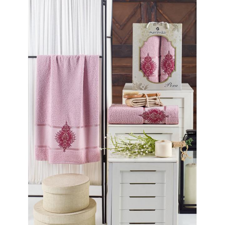 10685 Светло-розовый PERA (50х80+70х130 ) в коробке Набор полотенец MERZUKA