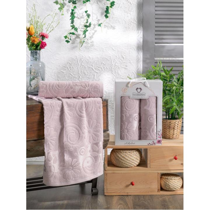 10911 Светло-розовый ASKABAT махра (50х90+70х140 ) Набор полотенец в коробке TWO DOLPHINS
