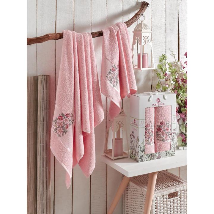 9522 Светло-розовый FLORAL махра ( 50х90+70х140) в коробке Набор полотенец MERZUKA