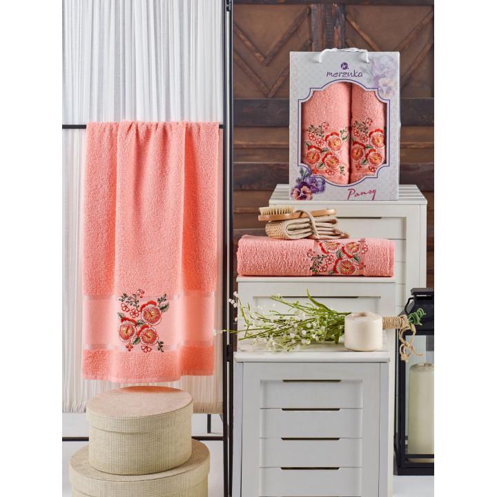 10683 Оранжевый PANSY (50х90+70х140 ) в коробке набор полотенец MERZUKA