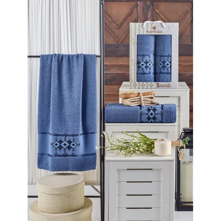 10681 Темно-голубой OTANTIC махра (50х90+70х140 ) в коробке Набор полотенец MERZUKA