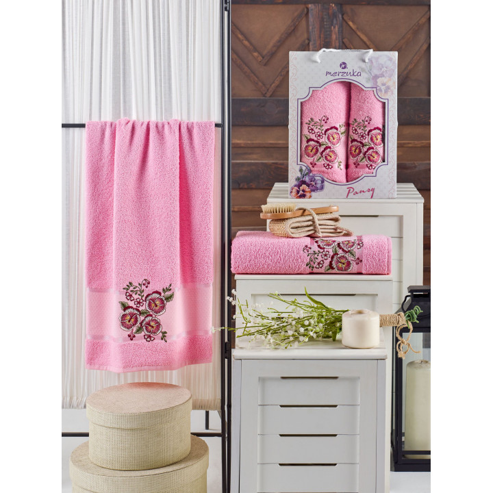 10683 Розовый PANSY (50х90+70х140 ) в коробке набор полотенец MERZUKA