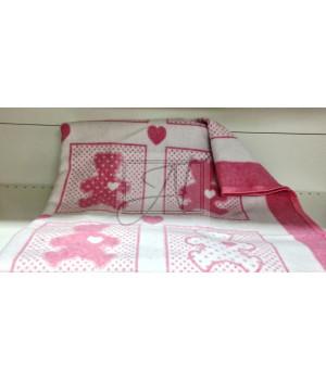 "Одеяло маленькое ""Барни"" 100х140 бело-розовое"