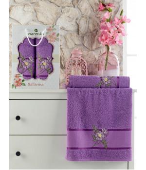 10540 Фиолетовый BALLERINA махра (50х90+70х140 ) в коробке Набор полотенец MERZUKA