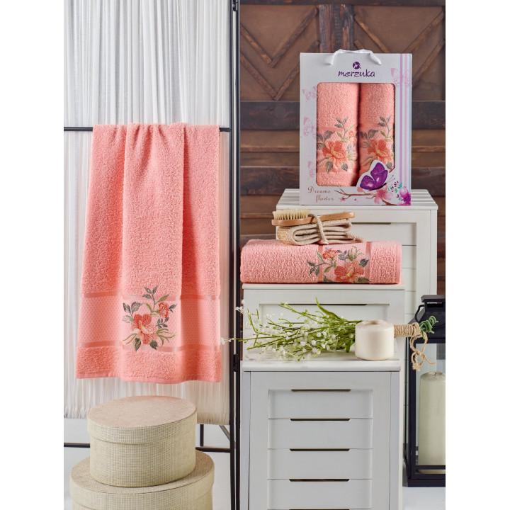 10678 Оранжевый DREAMS FLOWER махра (50х90+70х140 ) в коробке Набор полотенец MERZUKA