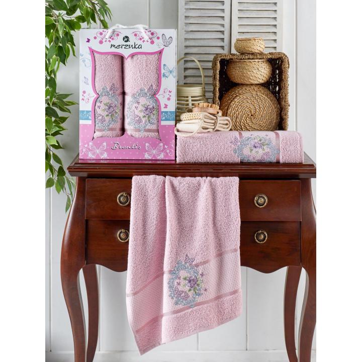 10675 Светло-розовый BRENTIS (50х90+70х140 ) в коробке Набор полотенец MERZUKA