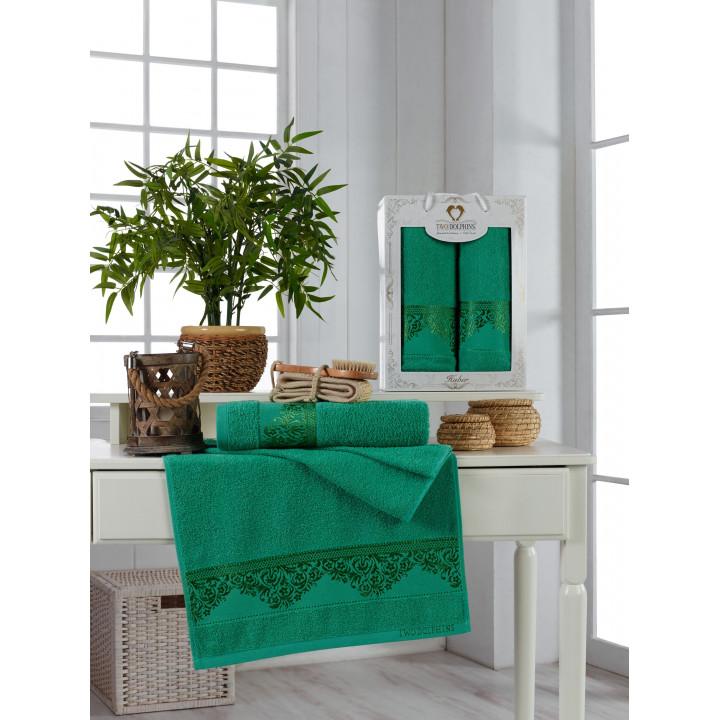 11224 Зелёный HUBER махра (50х90+70х140 ) в коробке Набор полотенец TWO DOLPHINS