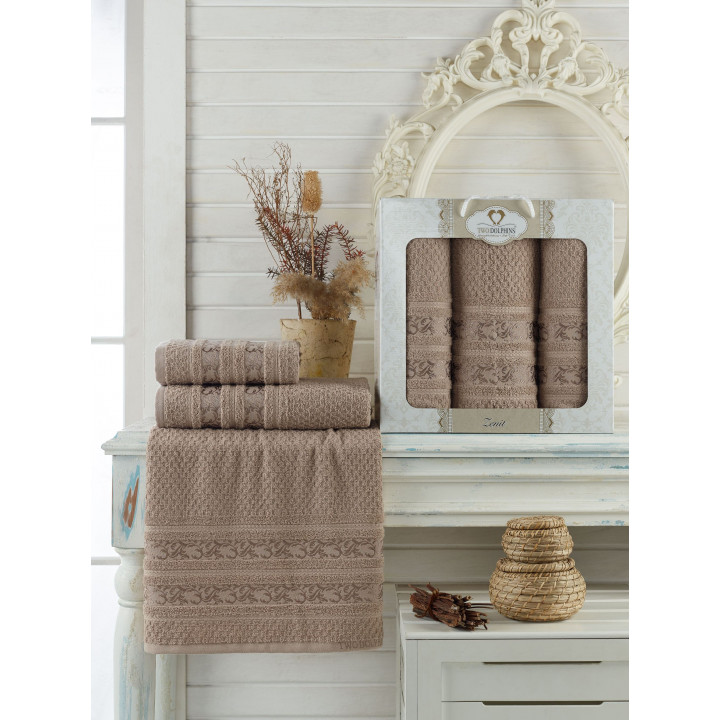 9647 Коричневый ZENIT махра (50х90х2шт+70х140 ) Набор полотенец в коробке TWO DOLPHINS