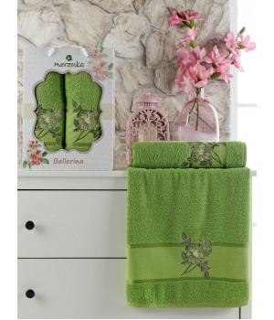 10540 Зеленый BALLERINA махра (50х90+70х140 ) в коробке Набор полотенец MERZUKA
