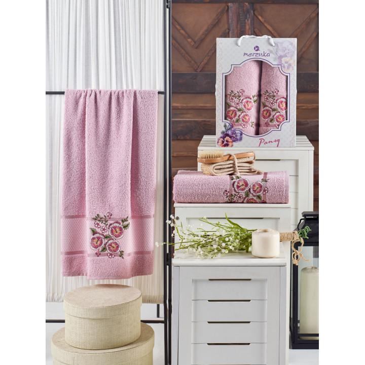 10683 Светло-розовый PANSY (50х90+70х140 ) в коробке набор полотенец MERZUKA