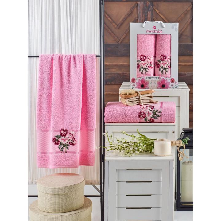10679 Розовый EMOTION (50х90+70х140 ) в коробке Набор полотенец MERZUKA