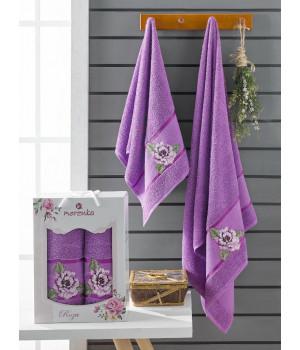 10171 Фиолетовый ROZA (50х90+70х140 ) в коробке Набор полотенец MERZUKA
