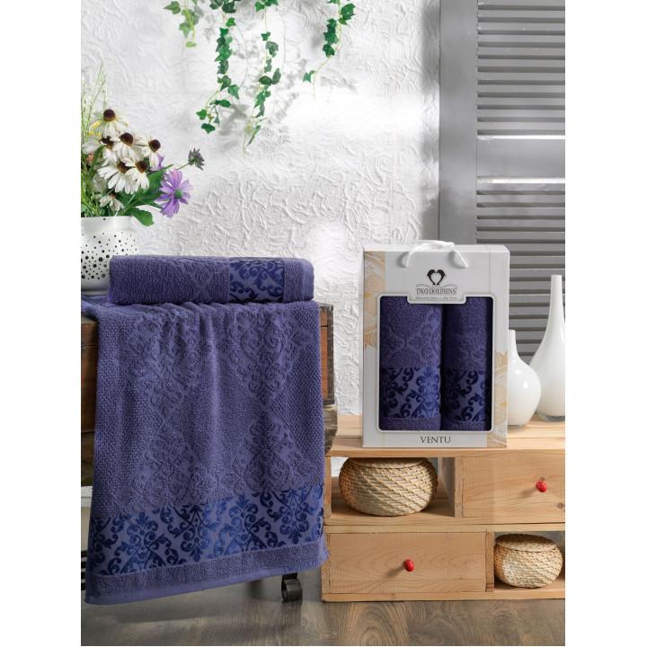 10915 Синий VENTU 50х90+70х140 в коробке Набор полотенец TWO DOLPHINS