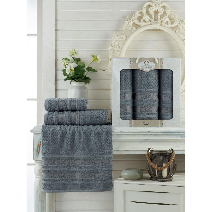 9647 Серый ZENIT махра (50х90х2шт+70х140 ) Набор полотенец в коробке TWO DOLPHINS