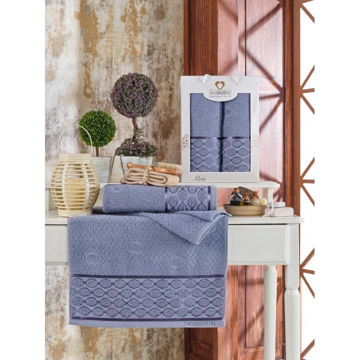 11230 Голубой MEIS махра (50х90+70х140 ) в коробке Набор полотенец TWO DOLPHINS