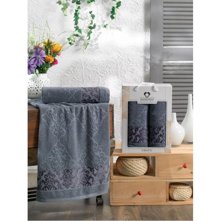 10915 Темно-серый VENTU 50х90+70х140 в коробке Набор полотенец TWO DOLPHINS
