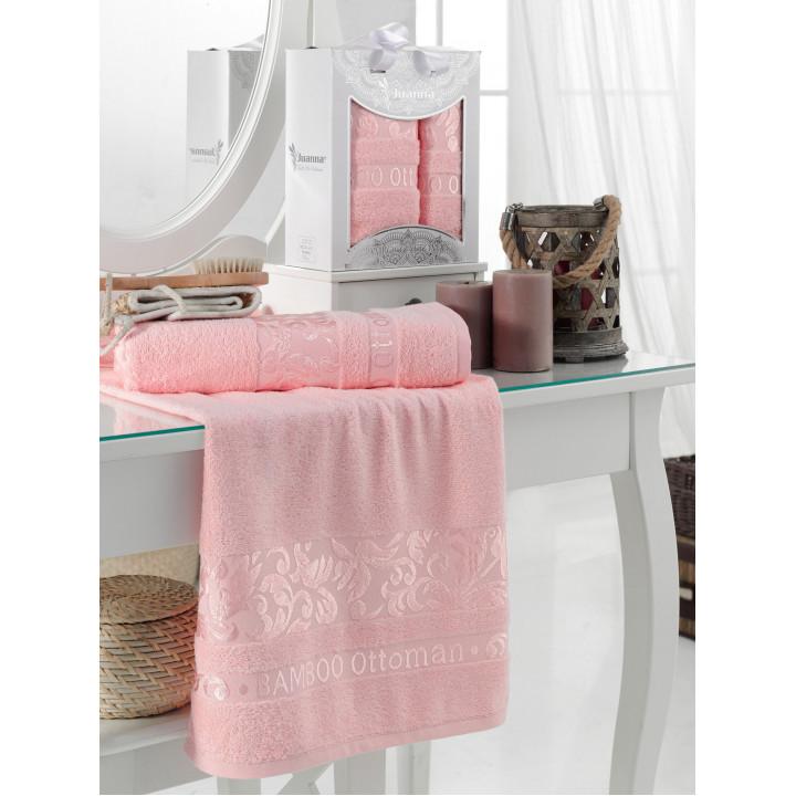 10803 Розовый OTOMAN Бамбук (50х90+70х140 ) в коробке набор полотенец JUANNA