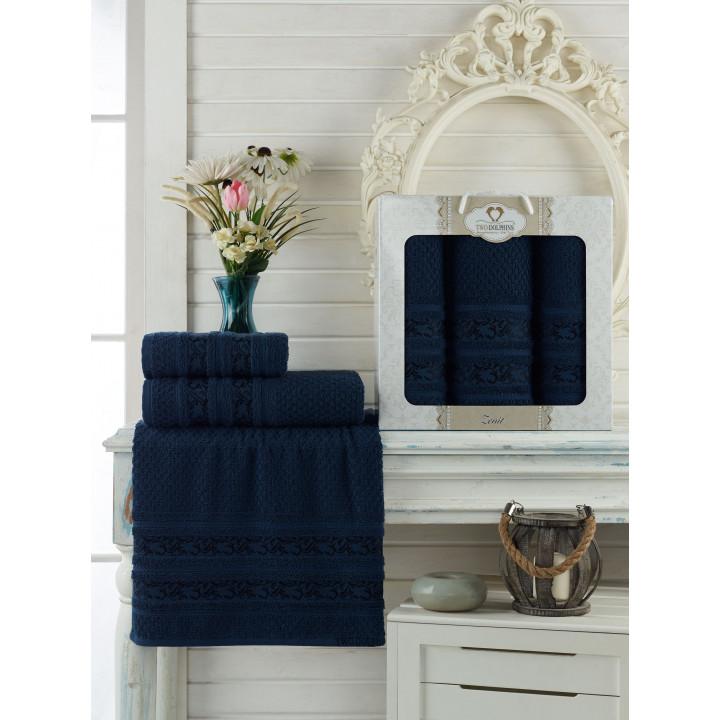 9647 Синий ZENIT махра (50х90х2шт+70х140 ) Набор полотенец в коробке TWO DOLPHINS