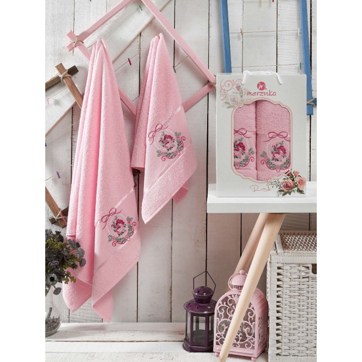 9330 Светло-розовый ROSE (50х80+70х130 ) в коробке Набор полотенец MERZUKA