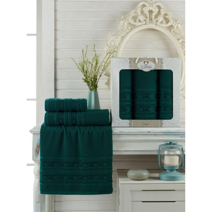 9647 Темнозеленый ZENIT махра (50х90х2шт+70х140 ) Набор полотенец в коробке TWO DOLPHINS