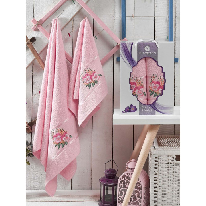 9331 Светло-розовый VIOLET (50х80+70х130 ) в коробке Набор полотенец MERZUKA