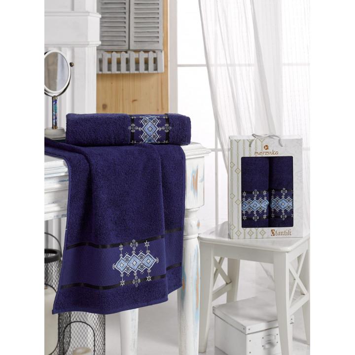 10681 Синий OTANTIC махра (50х90+70х140 ) в коробке Набор полотенец MERZUKA