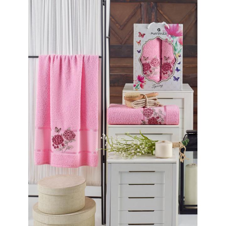 10690 Розовый SPRING махра (50х90+70х140 ) в коробке Набор полотенец TWO DOLPHINS