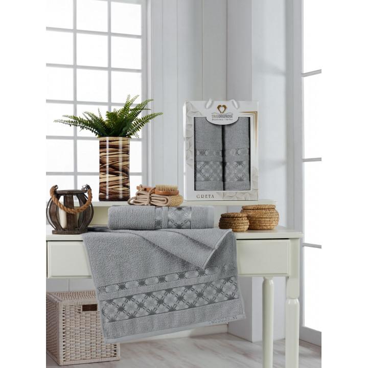 11226 Светло-серый GRETA махра (50х90+70х140 ) в коробке Набор полотенец TWO DOLPHINS