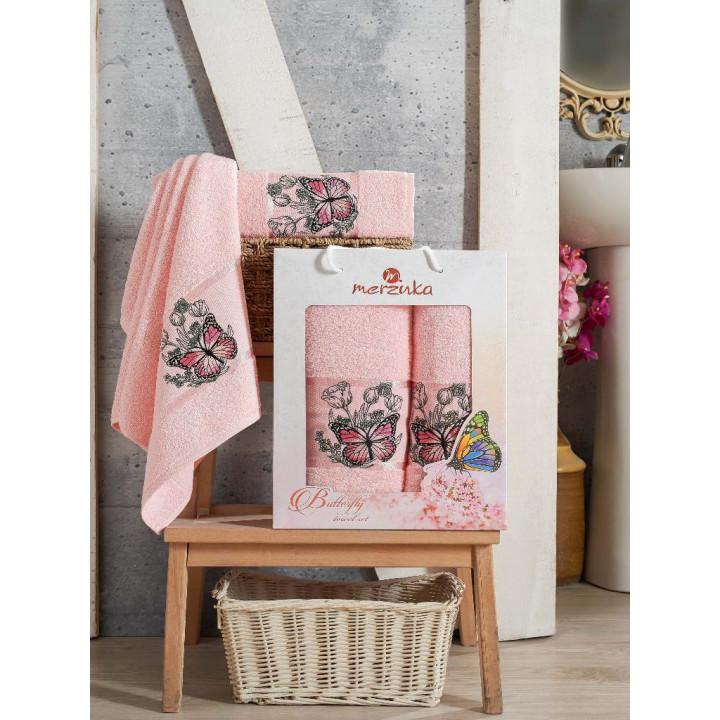 9251 Светло-розовый BUTTERFLY (50х80+70х130 ) в коробке Набор полотенец MERZUKA