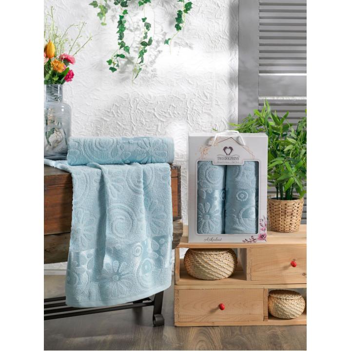 10911 Бирюза ASKABAT махра (50х90+70х140 ) Набор полотенец в коробке TWO DOLPHINS