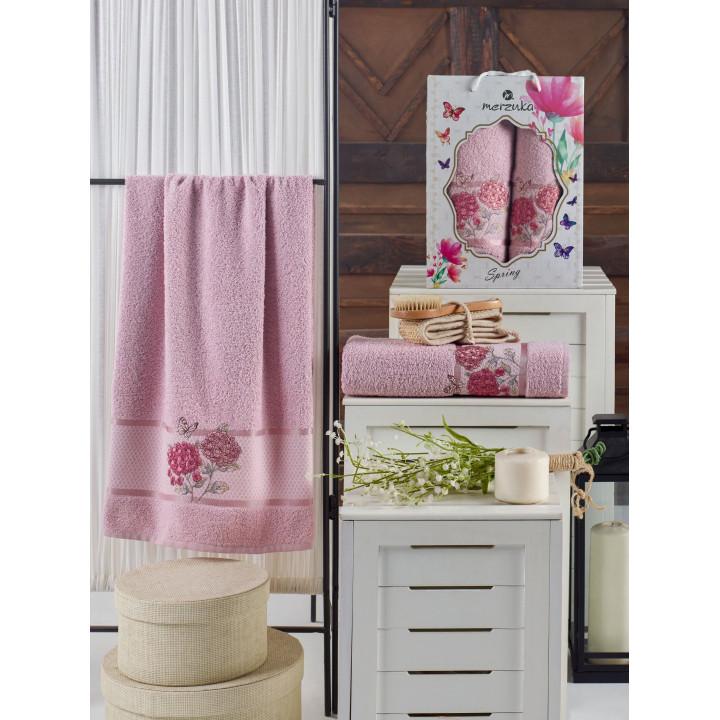 10690 Светло-розовый SPRING махра (50х90+70х140 ) в коробке Набор полотенец TWO DOLPHINS
