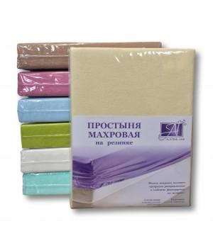 ПМР-КРЕМ-180(180) Кремовая простыня махровая на резинке 180х200+20