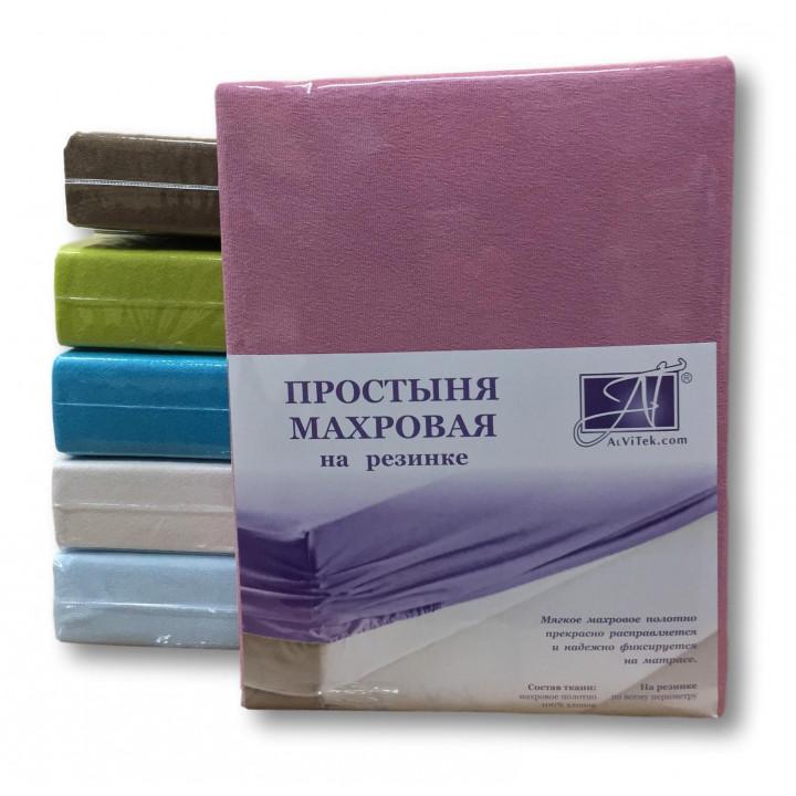 ПМР-СР-180(180) Сухая Роза простыня махровая на резинке 180х200+30